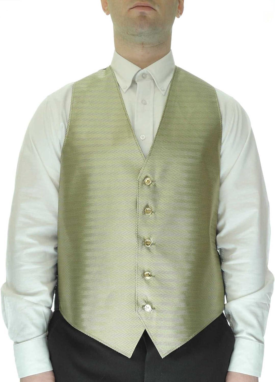 Chevron Pattern Gold Dress Vest for Men