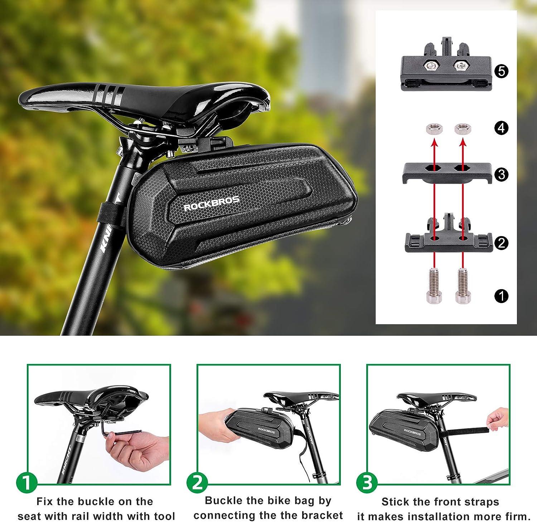 ROCKBROS Cycling Bicycle Waterpoof Seat Buckle Saddle Bag Hard Shell Bag Black
