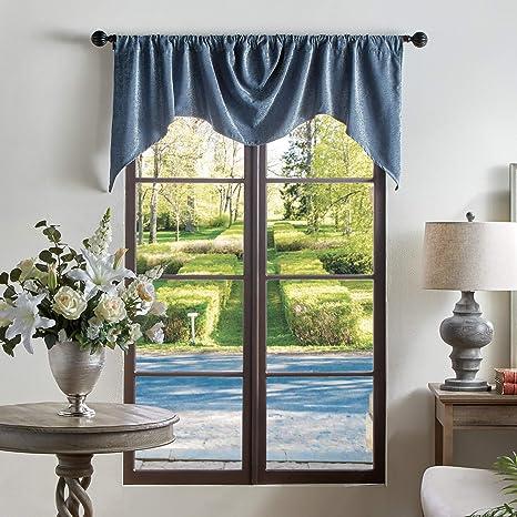 Amazon Com Martha Stewart Naples Chenille Solid Window Curtain Valance Navy Home Kitchen