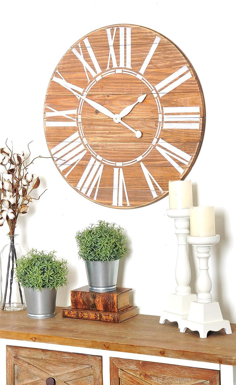 BrandtWorks Navy Nautical Oversized Wall Farmhouse Clock White//Blue 30