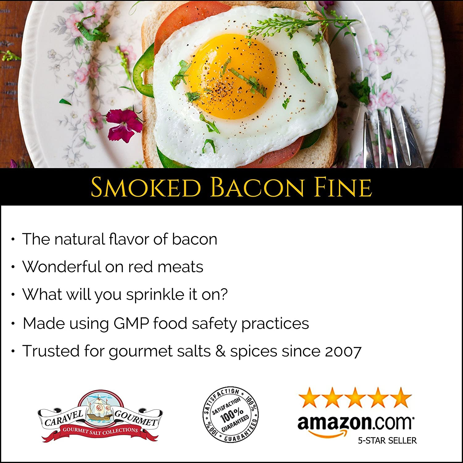 Amazon.com : Smoked Bacon Fine Sea Salt 1 lb. Resealable Bag - All-Natural Bacon Sea Salt Slowly Smoked for Perfect Smoky Flavor - No Gluten, No MSG, ...