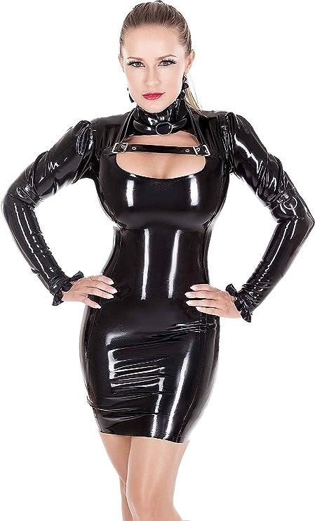 Westward Bound Dita-Dynamite Latex Dress Black with Warm White Trim
