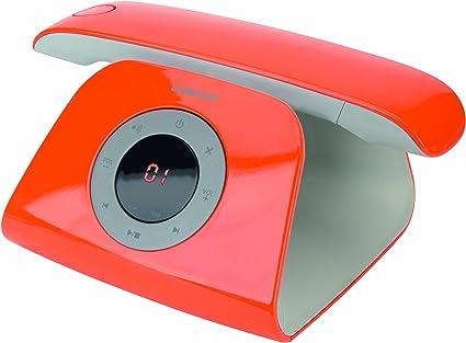 Logicom RETRO - Teléfono fijo inalámbrico no ISDN con contestador, color naranja [Importado]: Amazon.es: Electrónica