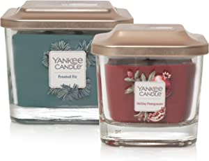 Yankee Candle Elevation Collection with Platform Lid Holiday Pomegranate Scented Candle, Small & Medium, Value Pack