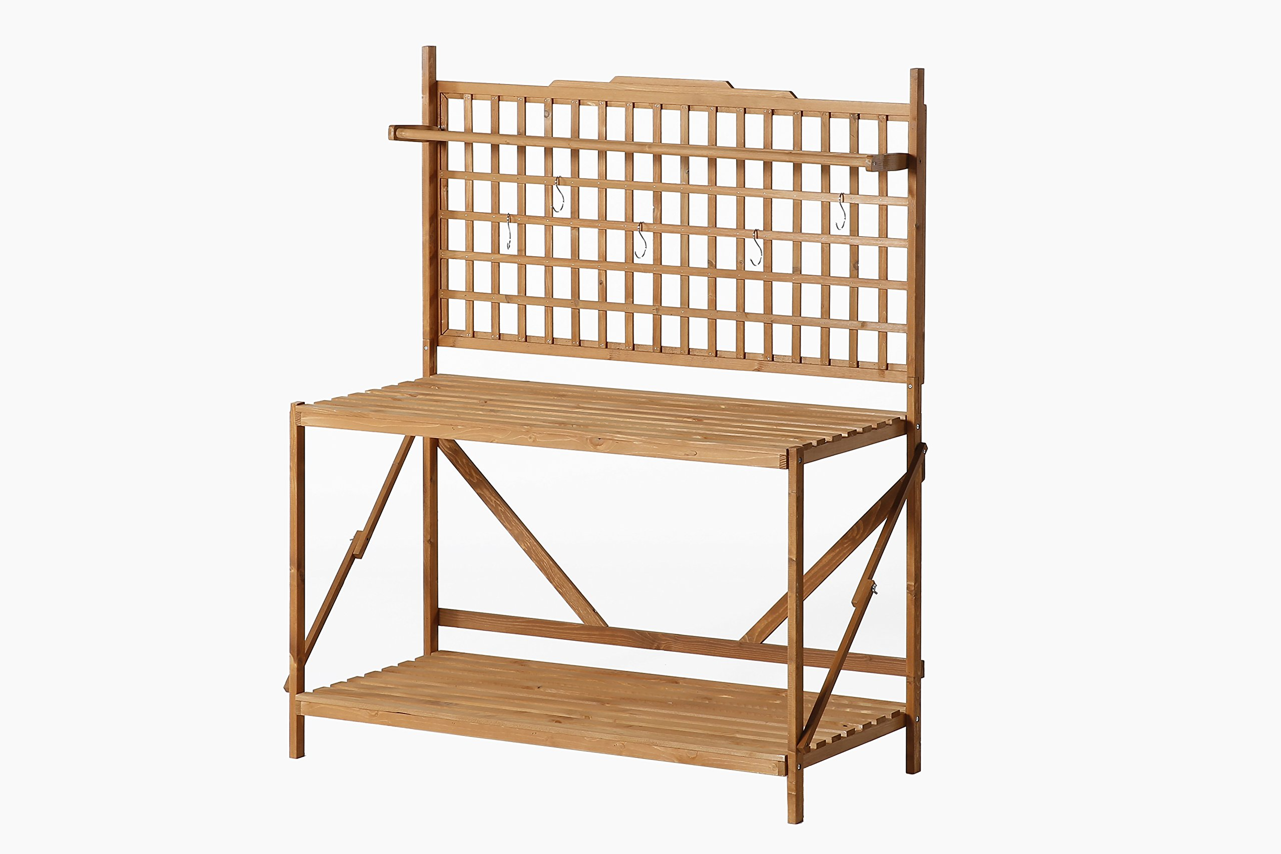 Patio Wise PWLPT-008 Large Potting Table with Hanging Rack by Patio Wise