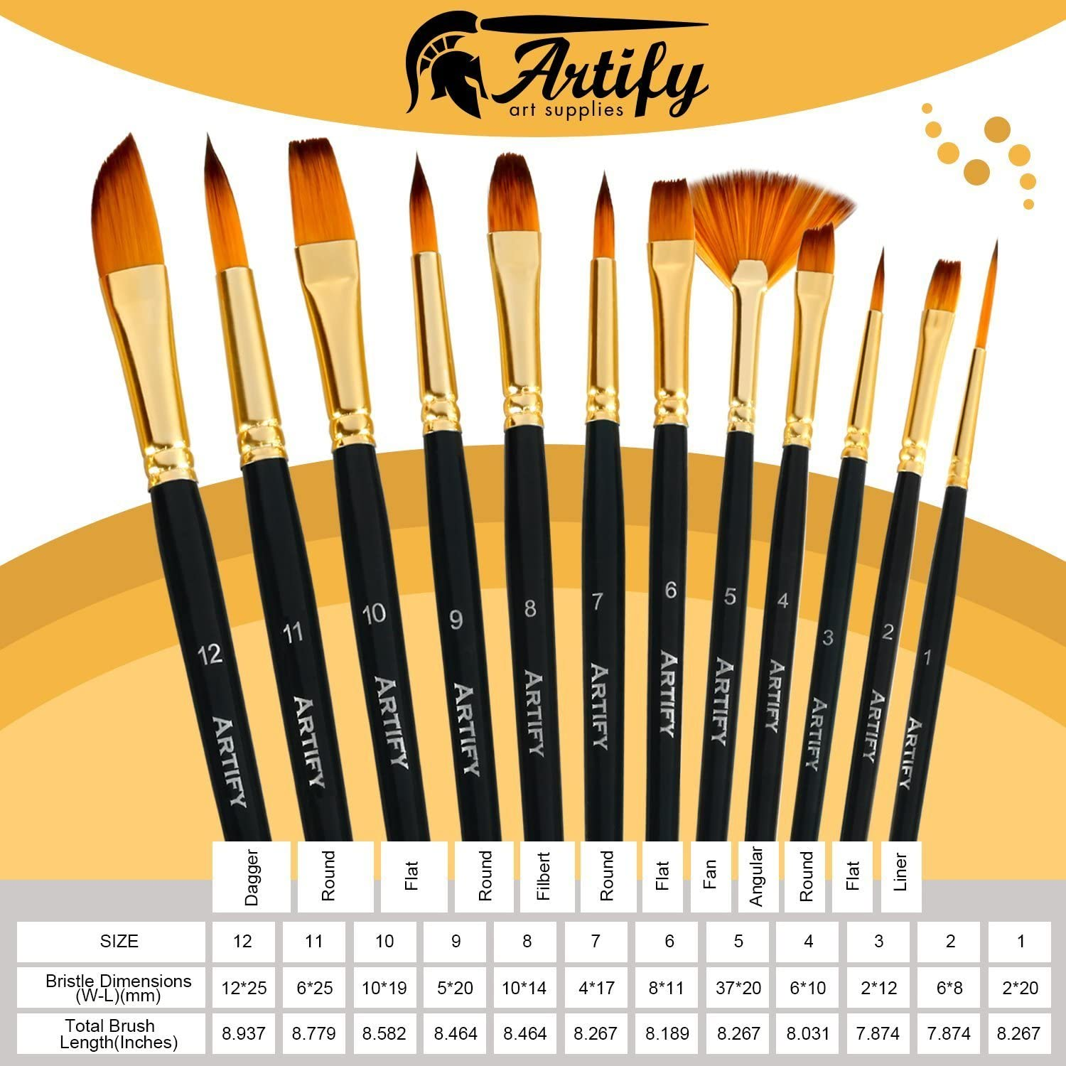 Watercolor and Gouache Artify 12 Pcs Paint Brush set Includes Pop-up Carrying Case with free Palette Knife Large Flat Brush and Sponge for Acrylic Oil