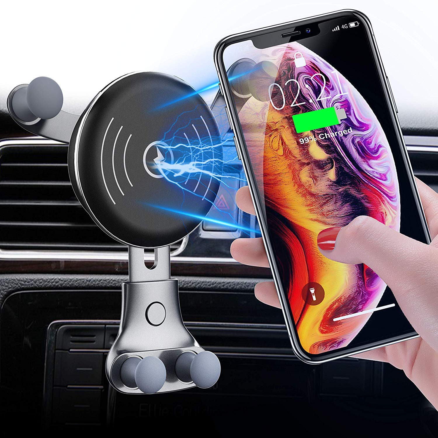 Car Charger, Air Vent Phone Holder, Wireless Car Kit, 10W Compatible for Samsung Galaxy S9 811recar24 by BESTHING