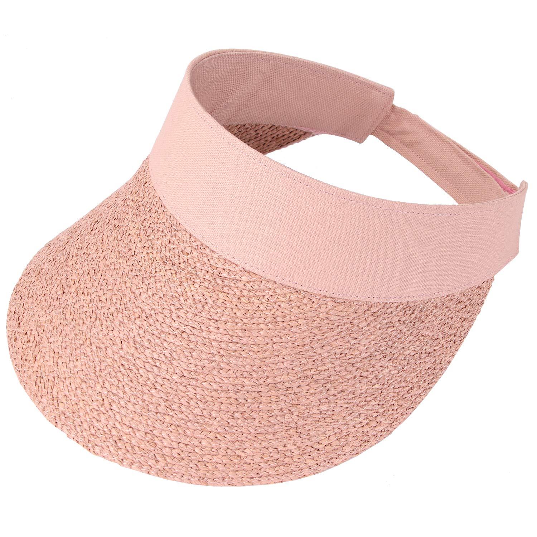 RIONA Women's Summer Straw Sun Visor Beach Straw Sun Hats Wide Brim UPF 50+ Pink