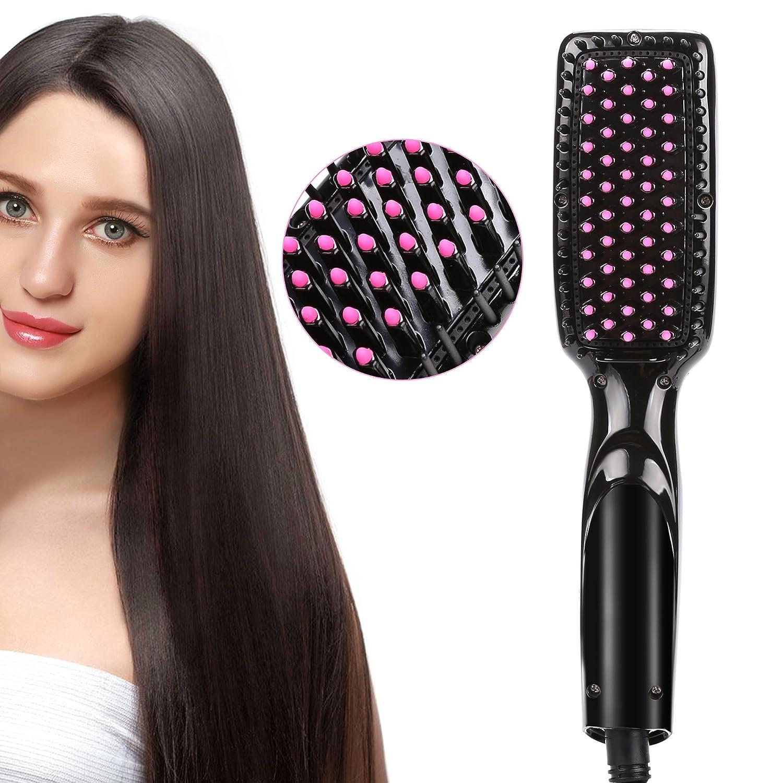 ACEVIVI Cepillo alisador de cabello iónico climatizada alisado peine cepillo cepillo de pelo de cerámica caliente calentamiento rápido Niza paquete de ...