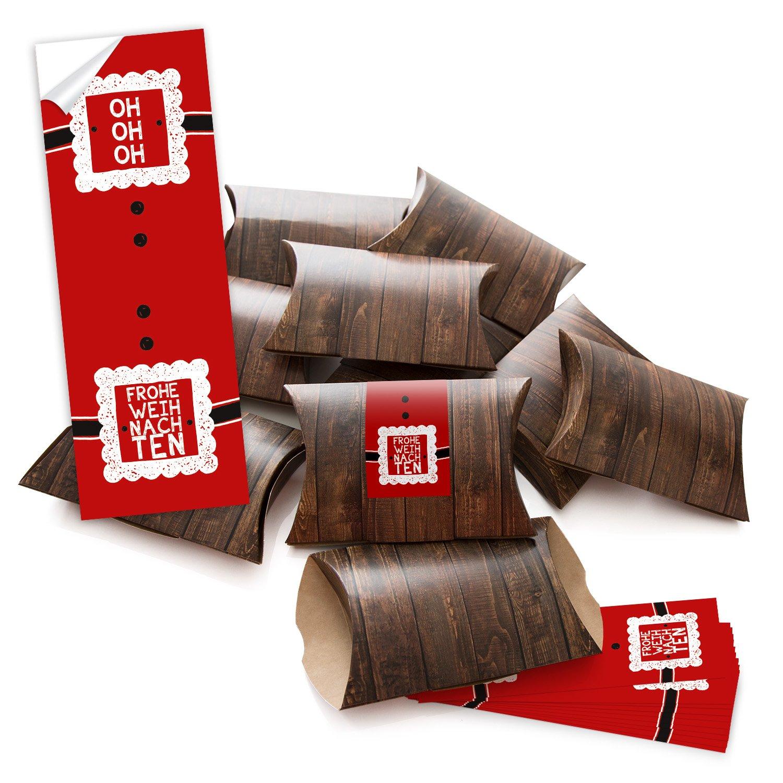 '100 pequeñas cajas de regalo cajas regalo caja marrón (14,5 x 10,5 + 3 cm altura) con adhesivo con precinto