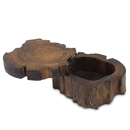 Caja de un árbol tronco joyas Joyero caja de madera para joyería. Anillo de lata