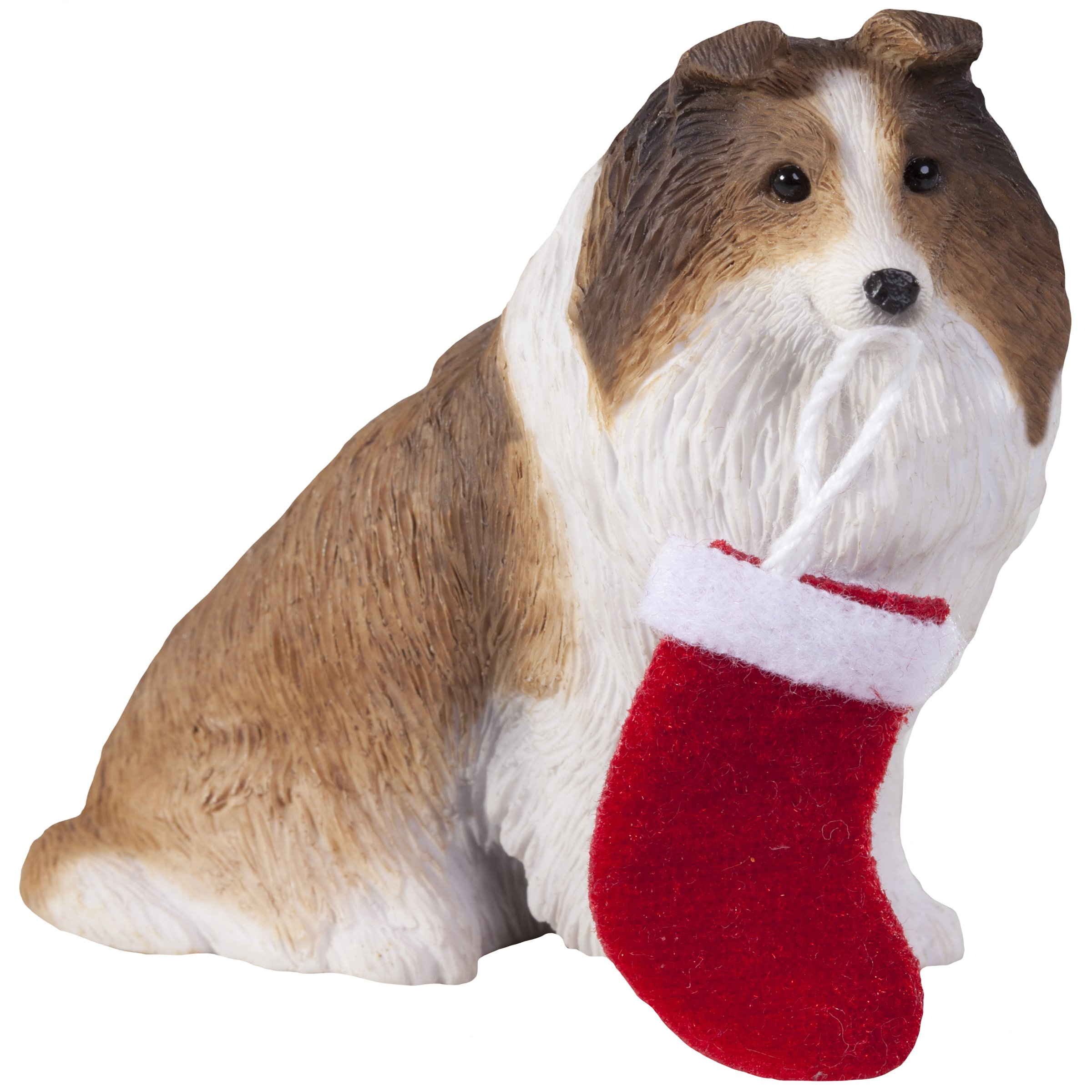 Sandicast Sable Shetland Sheepdog with Stocking Christmas Ornament