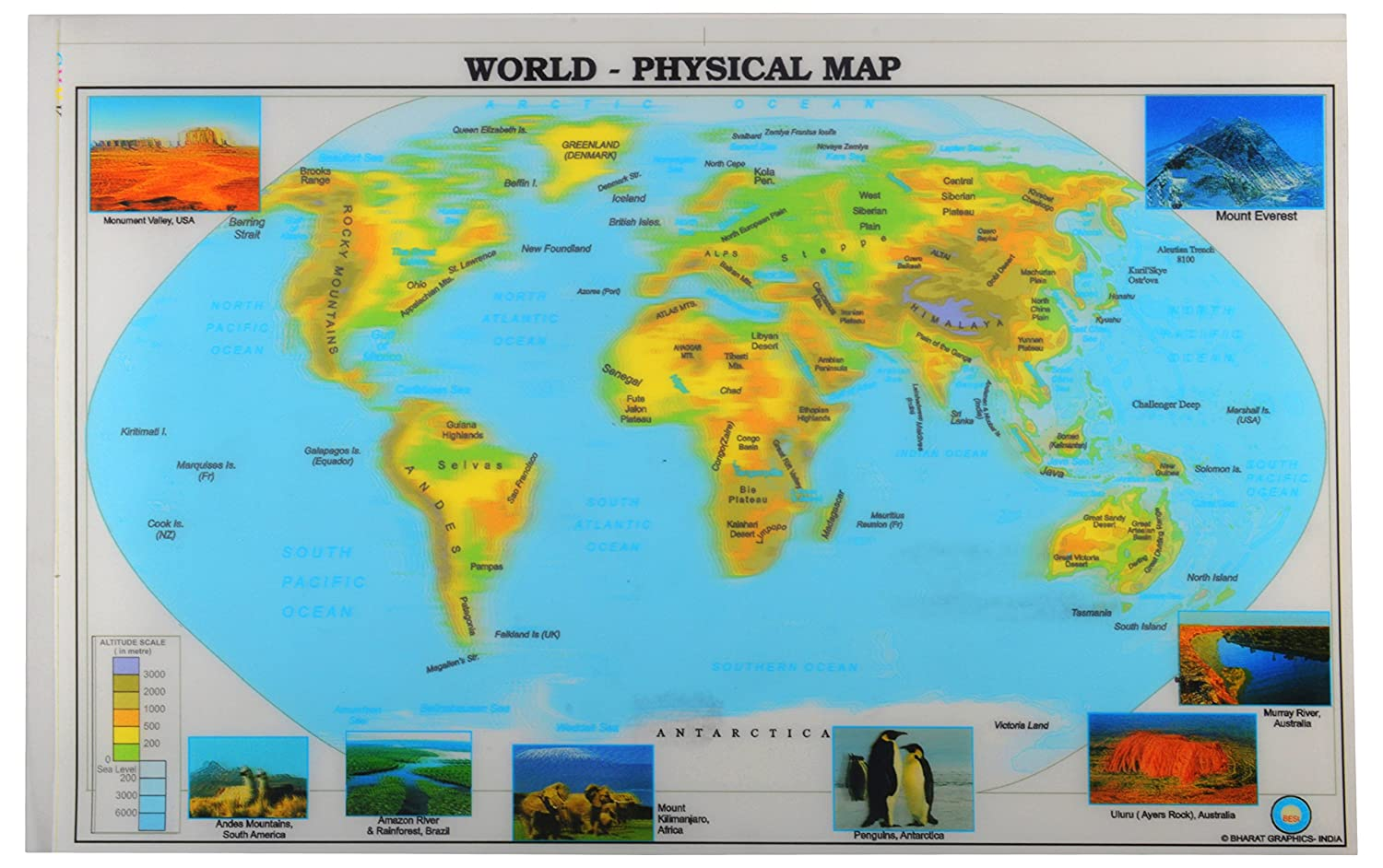 Best 3 D World Physical Map 35 Cm X 23 Cm X 35 Cm Pack Of 25