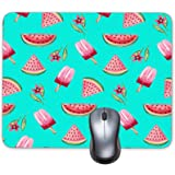 Watermelon Popsicles Background Mouse Pad Oblong Shaped Mouse Mat Design Natural Eco Rubber Durable Computer Desk Stationery Accessories Mouse Pads For Gift Support