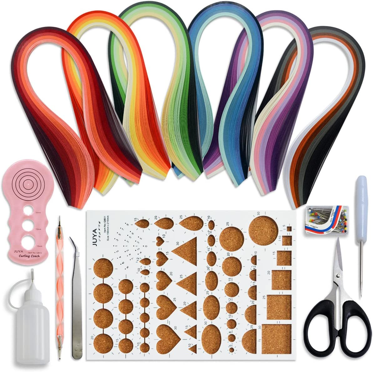 Juya Paper Quilling Kits with 30 Colors 600 Strips and 8 Tools Paper Width:5mm, Blue Tools