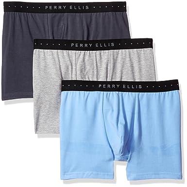 9f73b2250594 Perry Ellis Men's 3 Pk Cotton Stretch Solid Boxer Briefs, Heather  Grey/Vista Blue/Ebony, Small at Amazon Men's Clothing store: