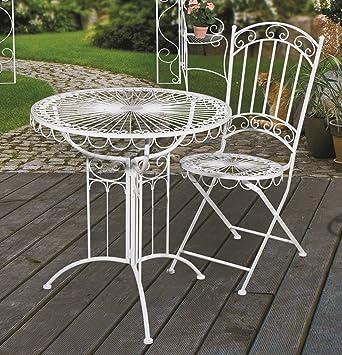 Genial Tisch + 2 Stühle *Romantik* Sitzgruppe Garnitur Gartenmöbel Metall Weiß
