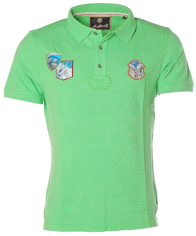 ST. MORITZ Herren Kurzarm Shirt Poloshirt Polokragen Pikee Engadin Ski