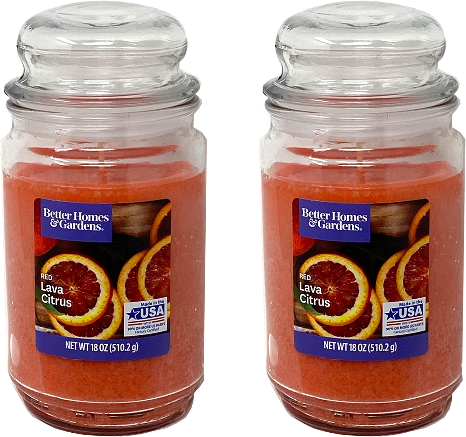 Better Homes Gardens 18oz Scented Candle, Red Lava Citrus 2-Pack