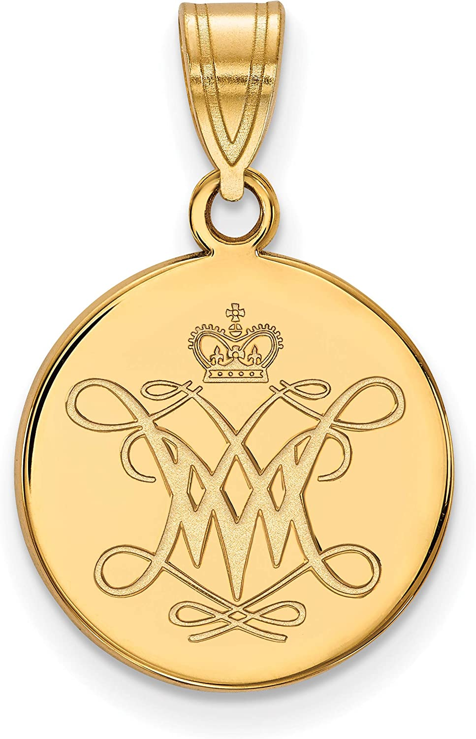 College of William /& Mary Tribe School Logo Disc Pendant Gold Plated Silver
