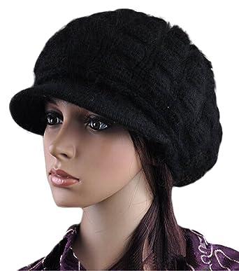 d89cdb69c34f9 CSM Womens Woolen Knit Pompon Fashion Brim Cap Winter Black at ...