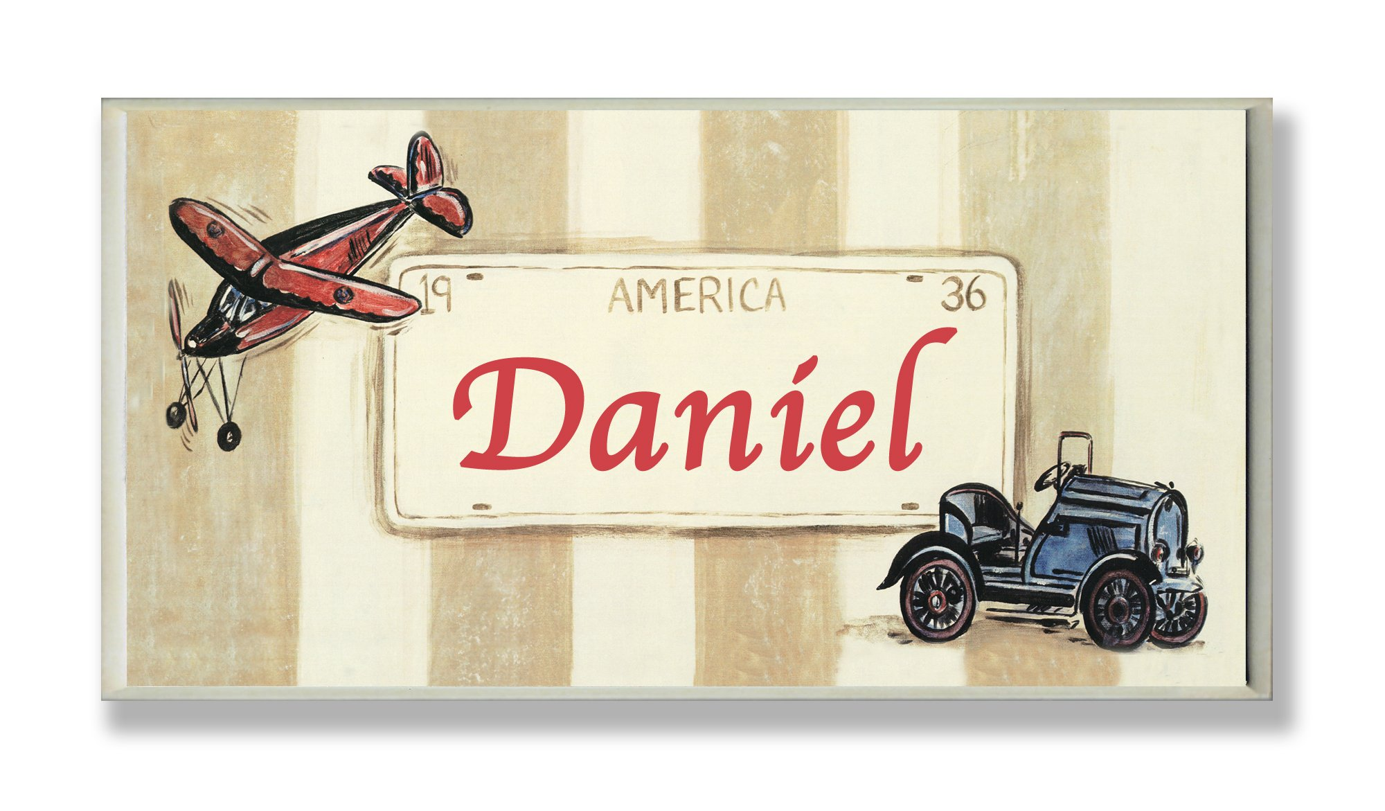 The Kids Room by Stupell Daniel, America License Plate with Plane and Automobile Rectangle Wall Plaque