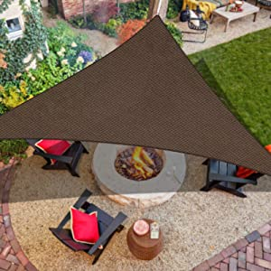 """iCOVER Sun Shade Sail Canopy, 185GSM Fabric Permeable Pergolas Top Cover, for Outdoor Patio Lawn Garden Backyard Awning, 16'5""""x16'5""""x16'5"""", Brown"""