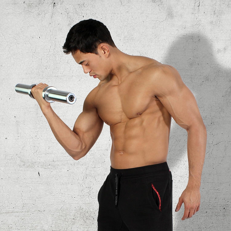 Incluye PDF Workout I Olympia Barra de pesas Cromado I Pesas 50 cm x 50 mm Barra corta de mancuerna cromada POWRX