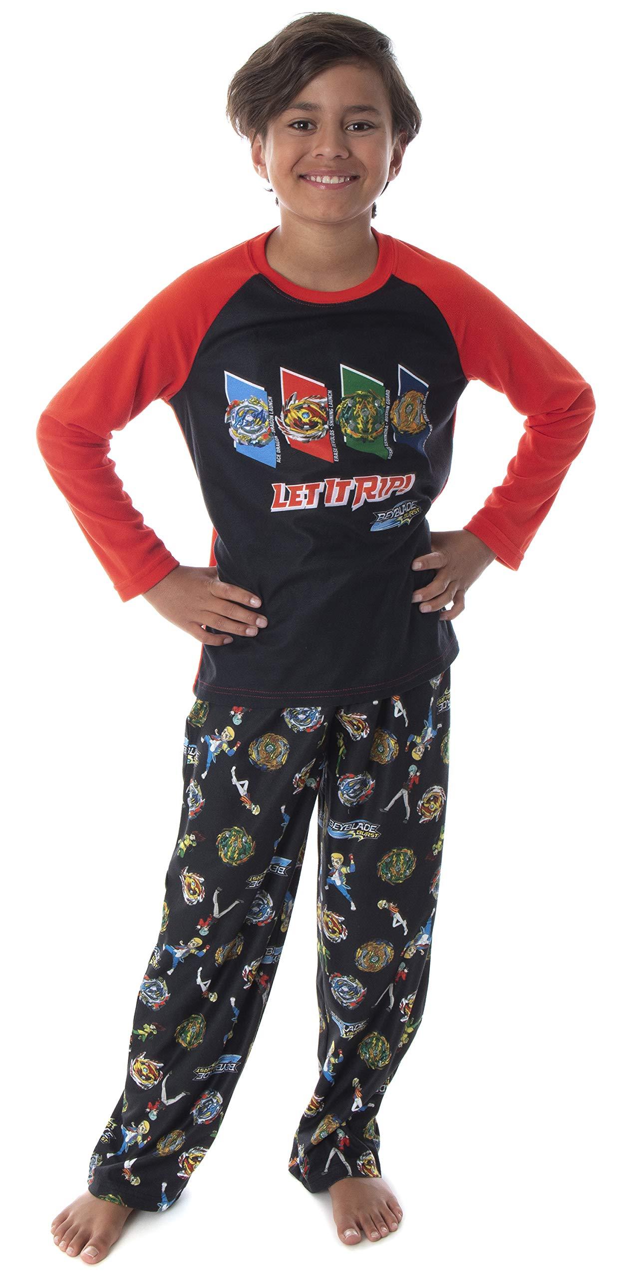 Beyblade Burst Boys 'Spinner Tops Fafnir Let It Rip! Conjunto de pijama infantil de 2 piezas con camisa y pantalón