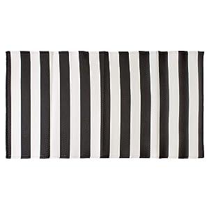 DII CAMZ11275 Stripe Outdoor Floor Runner, 3x6', Black & White
