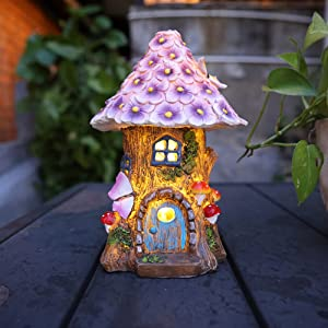 AnnaStore Fairy Garden House Solar Garden Statues Sculpture Outdoor Miniature Figurine Treehouse Decor Lawn Yard Ornaments Decoration Gift Ideas 8