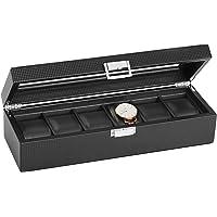 Sweetv 6-Slot Watch Box w/Glass Top (Carbon Fiber Pattern)
