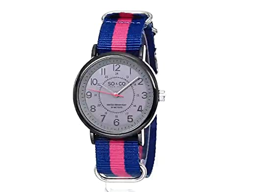 Amazon.com: SO&CO New York Mens 5002A.3 SoHo Quartz Grey Luminous Dial Blue and Pink Canvas Strap Watch: Watches