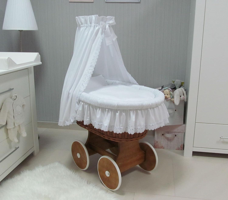 goma Babymajawelt/® Mois/és Juego completo Rom/ántico Encaje incluye colch/ón gris carretillas de carro con ruedas grandes 10 piezas