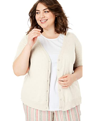 f332921277835b Woman Within Women's Plus Size Short Sleeve V-Neck Cardigan