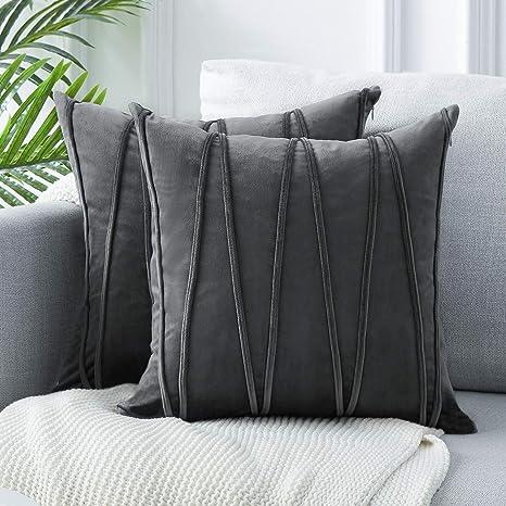 Topfinel 2 Juegos Hogar Cojín Terciopelo Suave Decorativa Almohadas Fundas de Color Sólido para Sala de Estar sofás 40x40cm Gris