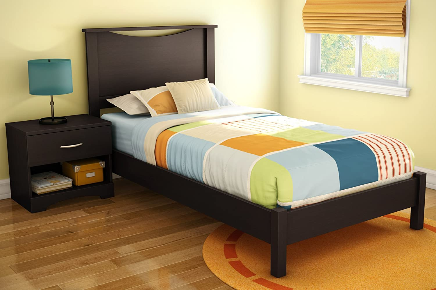 Twin platform bed frame - Amazon Com South Shore Sandbox Collection 39 Inch Twin Platform Bed Chocolate Kitchen Dining