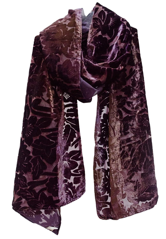"""""""Classic Floral"""" Lined Burnout Cut Devore Velvet Stole Scarf Shawl Purple Brown"""