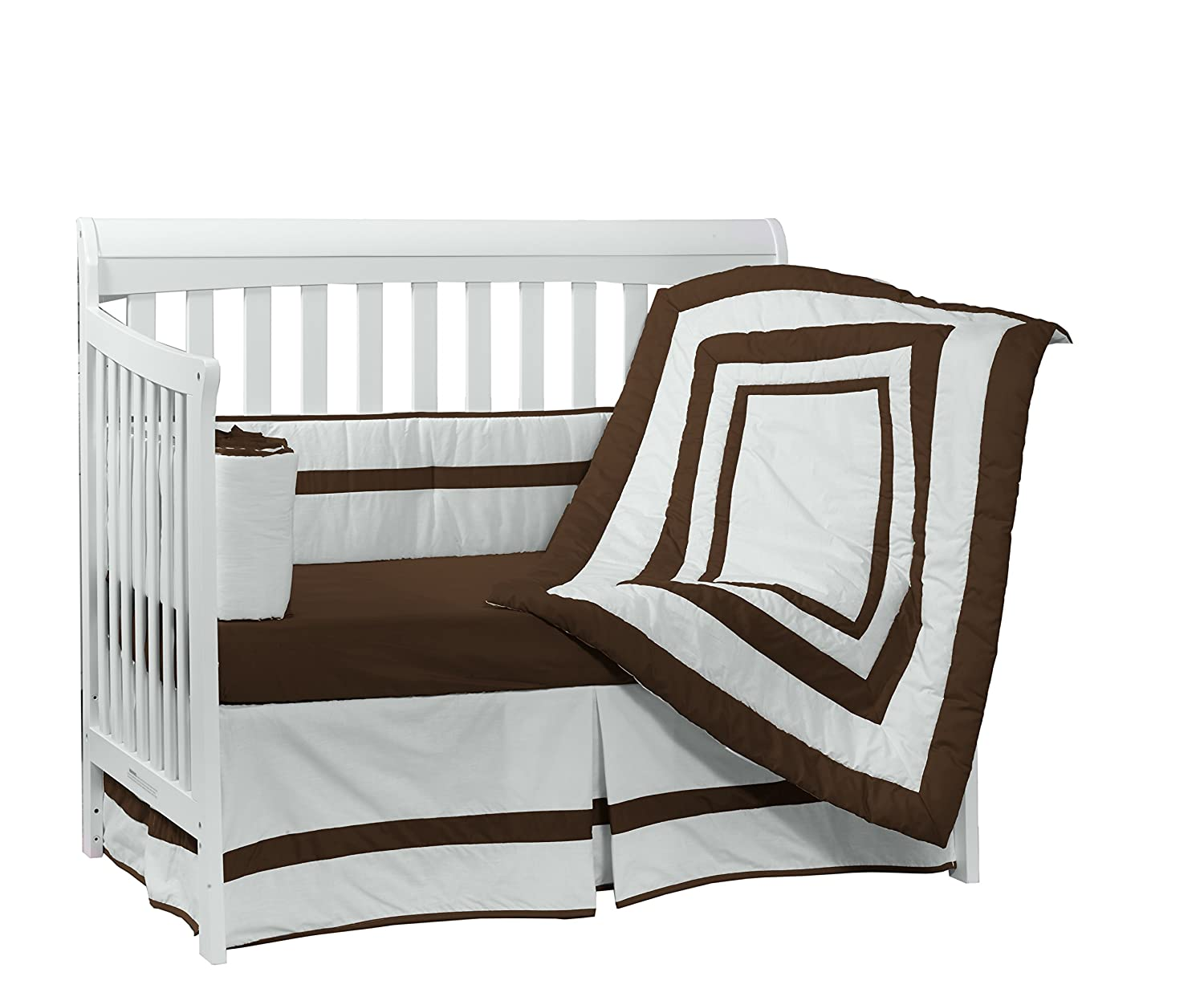 Baby Doll Bedding Modern Hotel Style Crib Bedding Set, Chocolate by BabyDoll Bedding   B008B346TE