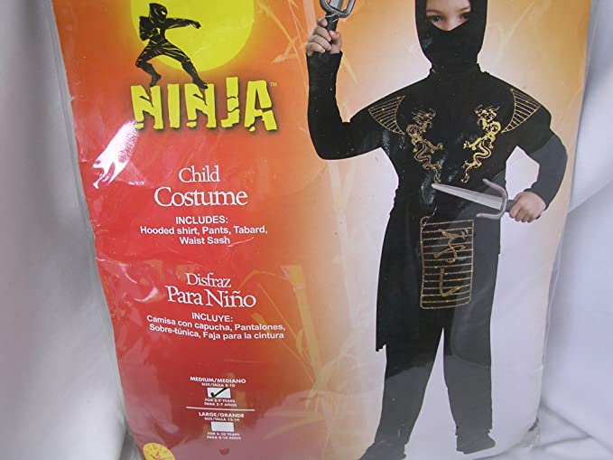 Amazon.com: Ninja Child Halloween Costume Black/Gold: Clothing