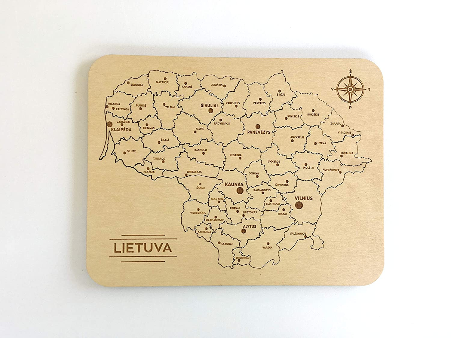 Handmade Lithuania Wooden Puzzle Map