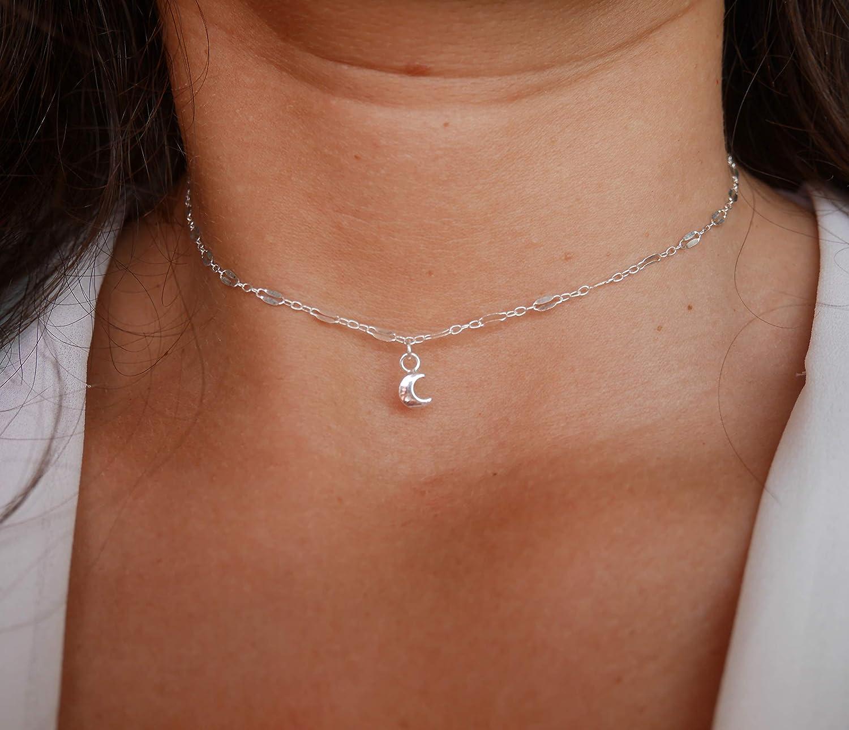 Collier choker ras du cou collier argent collier ultra fin minimaliste lune argent cha/îne /à maillons large en argent massif 925