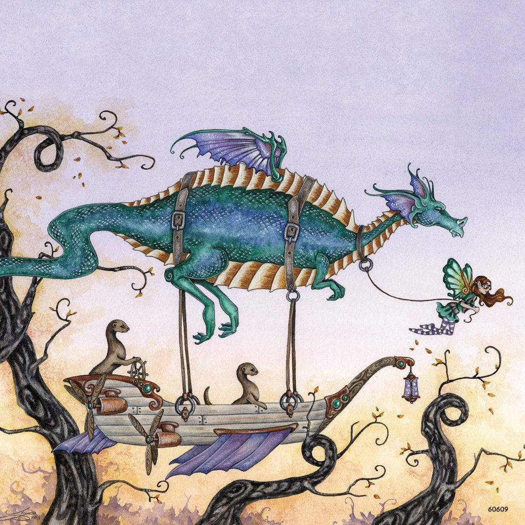 The Voyage Dragon and Fairies by Amy Brown 60609 Tree-Free Greetings Refrigerator Magnet 3.5x3.5 Inches