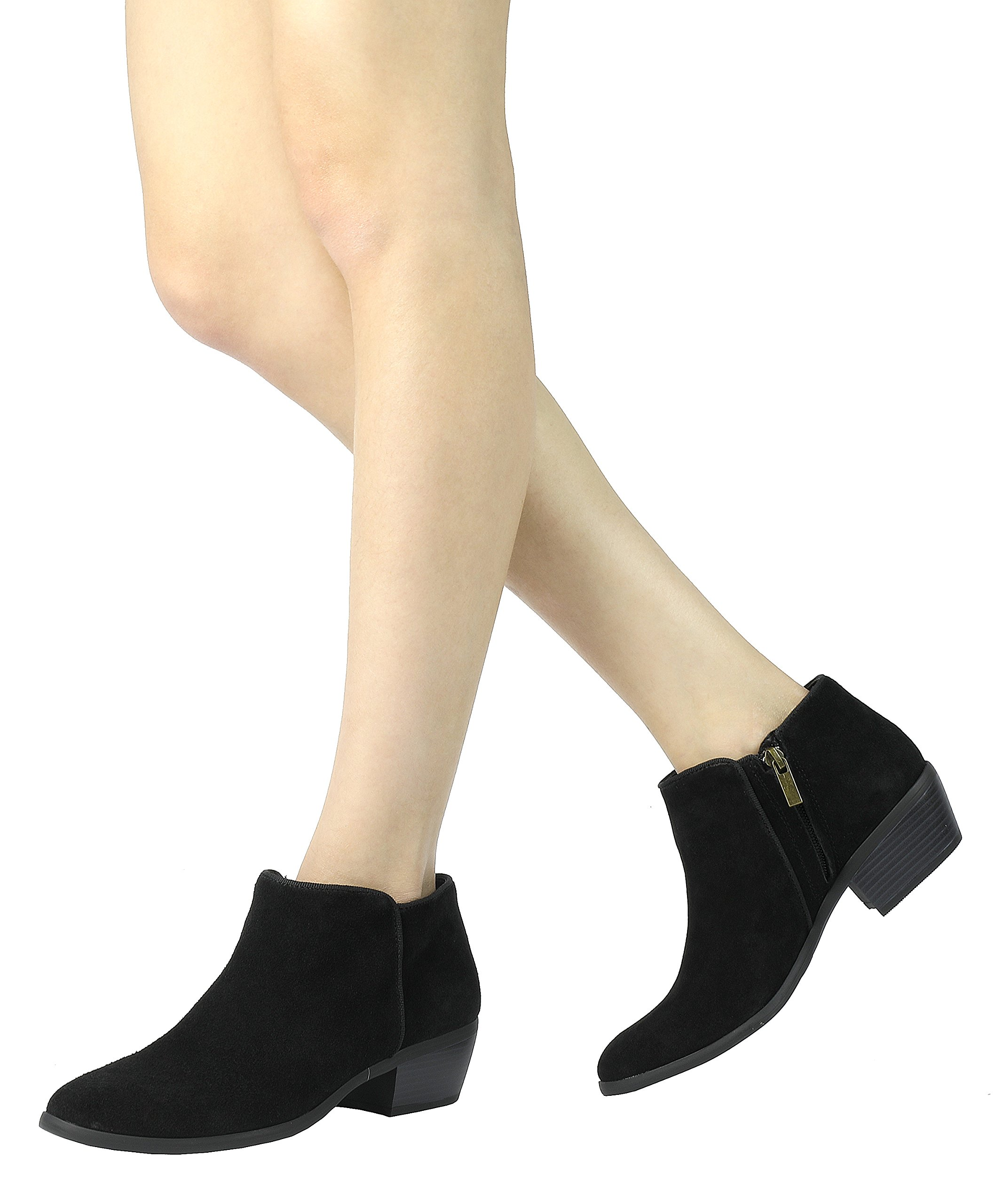 TOETOS Womens Low Stacked Heel Ankle Riding Booties