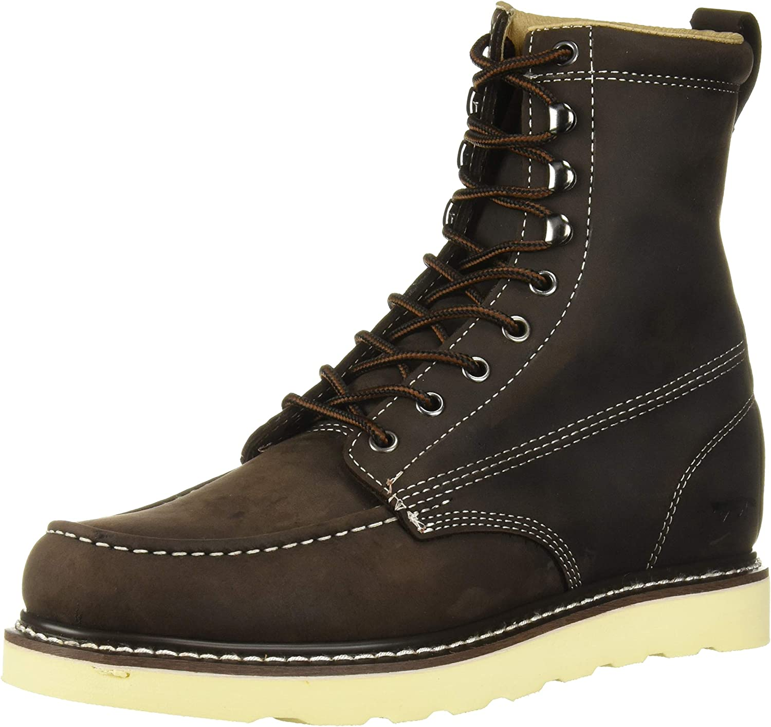King Rocks Work Boots 8 Mens Moc Toe Wedge Comfortable Leather Boot for Work and Construction