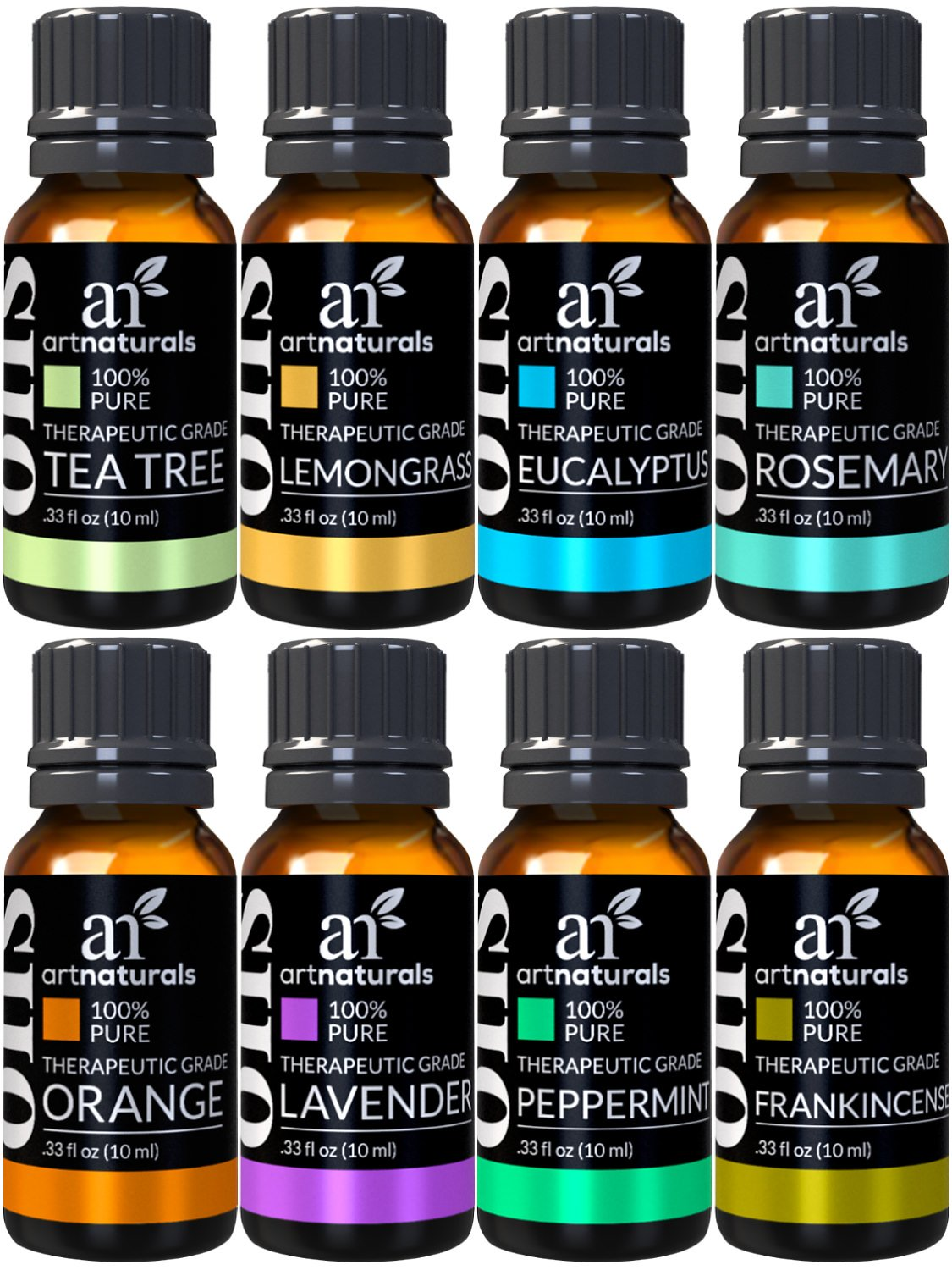 ArtNaturals TherapeuticGrade Aromatherapy Essential Oil Gift Set8 x 10ml100% Pure of the OilsPeppermint, Tea Tree, Lavender, Eucalyptus ANVA-0108-VE