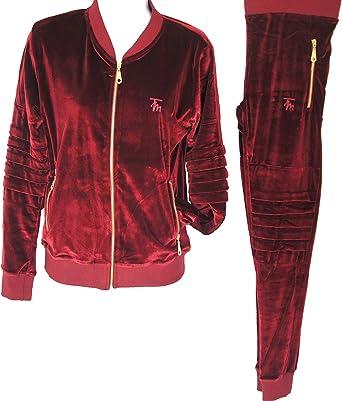 Ladies Velour Tracksuit Premium Velvet Biker Hip Hop Urban Streetwear Jogging Set Xl Burgundy Amazon Co Uk Clothing
