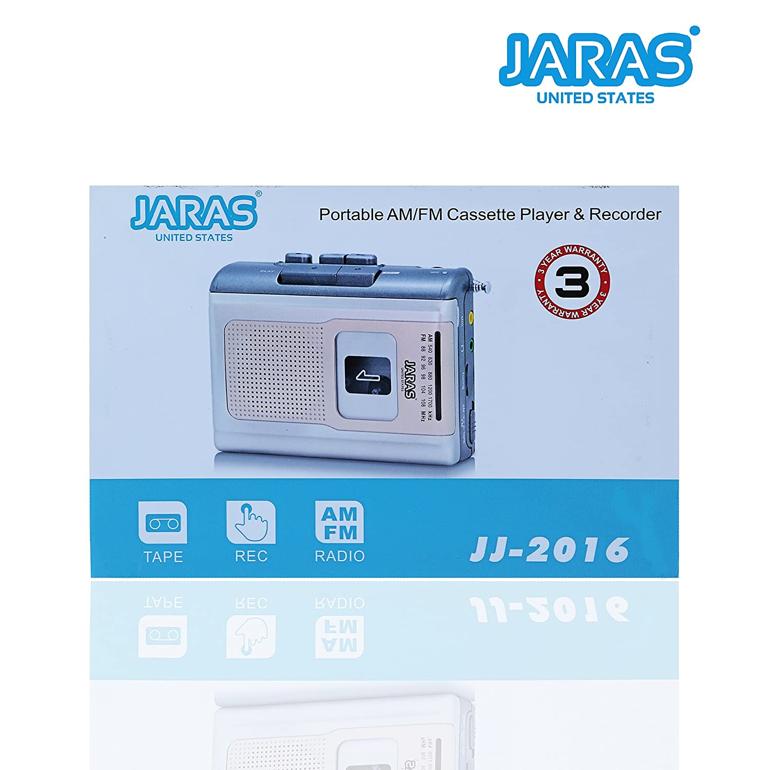 Jaras Limited Edition Portable Am Fm Radio Personal Small Cassette Player Compact Lightweight Design Stereo Recorder