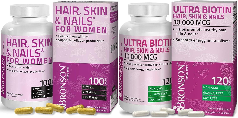 Hair, Skin & Nails with Biotin Extra Strength Vitamin Supplement for Women + Ultra Biotin 10,000 Mcg