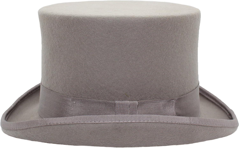 VIZ-UK WEAR da Uomo 100/% Feltro di Lana di Alta qualit/à Grigio Chiaro Tradizionale Cappello a Cilindro